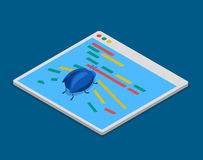 Program code bug technology coding  flat 3d isometric vector Stock Images
