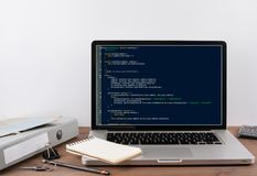 Program code on computer screen. Programming and coding technology background.  royalty free stock photography