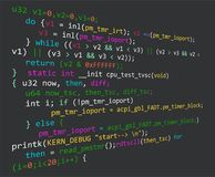 Program code in development. Colored code on black background Stock Image