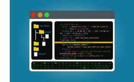 Program code editor, the integrated software development environment. IDE. Program code editor, the integrated software development environment. Isolated on Royalty Free Stock Image