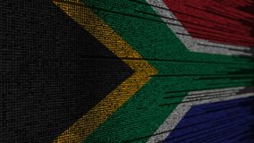 Program code and flag of South Africa. SAR digital technology or programming related 3D rendering. Source code and flag. Programming or digital technology stock illustration