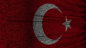Program code and flag of Turkey. Turkish digital technology or programming related loopable animation. Source code and flag. Programming or digital technology stock video footage