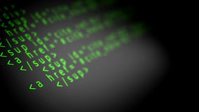 Program code HTML. On computer screen stock footage