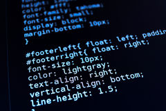 Program code on a monitor. Program code on a black screen Royalty Free Stock Photo
