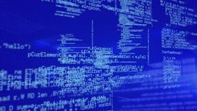 Program codes. Digital animation of program codes moving in a blue background royalty free illustration
