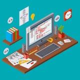 Program coding, SEO algorithm improvement, application development vector concept Royalty Free Stock Images
