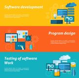 Program Development Banner Set. Program development horizontal banner set with software testing flat elements  vector illustration Royalty Free Stock Photo