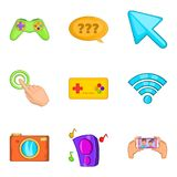 Program development icons set, cartoon style. Program development icons set. Cartoon set of 9 program development vector icons for web isolated on white Royalty Free Stock Images