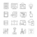 Program Development Line Icon Set stock illustration