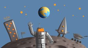 Program for the exploration of the moon. 3D rendering stock illustration