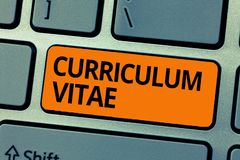 Program för ordhandstiltext - vitae Affärsidé för överblick av personkvalifikationer för arbetsmöjlighet arkivbild