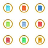 Program file icons set, cartoon style. Program file icons set. Cartoon style set of 9 program file vector icons for web design Stock Photos