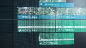 The program interface for video editing. The editor creates a video. Freelancer works at home, creates a movie for the