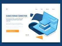 Program product development, programming and application creating, database and data center access, cloud storage. Service, server room isometric vector stock illustration