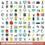 100 program setting icons set, flat style. 100 program setting icons set in flat style for any design vector illustration Stock Photos