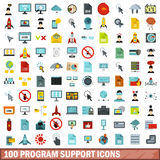 100 program support icons set, flat style Royalty Free Stock Photo