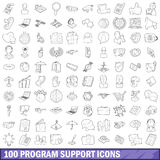 100 program support icons set, outline style Royalty Free Stock Image