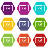 Program for video playback icon set color hexahedron. Program for video playback icon set many color hexahedron isolated on white vector illustration Stock Photography