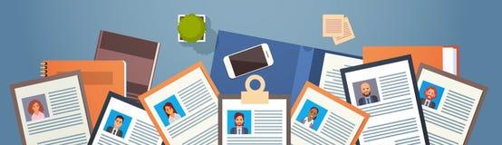 Program - vitaerekryteringkandidat Job Position, CV-profil på skrivbords- folk för affär för vinkelsikt till hyra royaltyfri illustrationer
