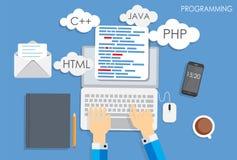 Programação codificando o vetor liso do conceito Imagem de Stock Royalty Free
