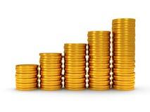 programação 3d de moedas douradas como escadas no branco Foto de Stock Royalty Free