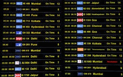 Programação da chegada e da partida no aeroporto internacional de Kempegowda em Bangalore foto de stock
