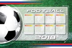 Programação da competição do futebol do futebol do fundo Foto de Stock