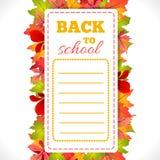 Programação da escola com folhas Imagem de Stock Royalty Free