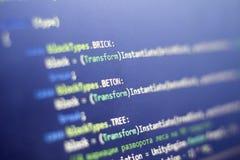 Programação de software C C-afiado, Fim LÍQUIDO do código acima Tiro macro da tela do colaborador do jogo imagens de stock