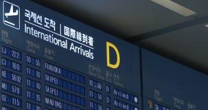 Programação de voo de chegadas internacionais no aeroporto de Seoul filme