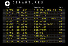Programação do aeroporto - Brasil Fotografia de Stock Royalty Free