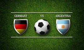 Programação do fósforo de futebol, Alemanha contra Argentina, bandeiras do país Fotografia de Stock