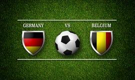 Programação do fósforo de futebol, Alemanha contra Bélgica, bandeiras dos países Foto de Stock Royalty Free