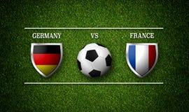 Programação do fósforo de futebol, Alemanha contra França, bandeiras dos países a Imagens de Stock