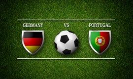 Programação do fósforo de futebol, Alemanha contra Portugal, bandeiras dos países Imagem de Stock