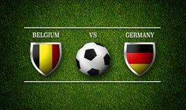 Programação do fósforo de futebol, Bélgica contra Alemanha, bandeiras dos países Imagem de Stock