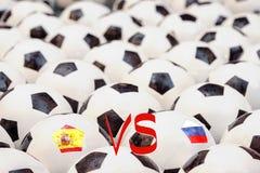 Programação do fósforo de futebol, Espanha contra Rússia Fotografia de Stock Royalty Free