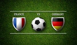 Programação do fósforo de futebol, França contra Alemanha, bandeiras dos países a Imagem de Stock Royalty Free