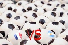 Programação do fósforo de futebol, França contra Argentina Imagens de Stock Royalty Free