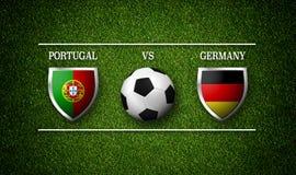 Programação do fósforo de futebol, Portugal contra Alemanha, bandeiras dos países Fotos de Stock