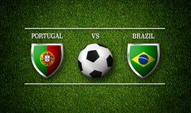 Programação do fósforo de futebol, Portugal contra Brasil, bandeiras dos países Imagem de Stock Royalty Free