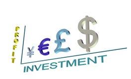 Programação do lucro do investimento dos símbolos de moeda 3D Imagens de Stock Royalty Free