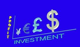 Programação do lucro do investimento dos símbolos de moeda 3D Imagem de Stock Royalty Free