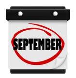 Programação do mês da mudança do calendário de parede da palavra de setembro Fotografia de Stock Royalty Free