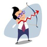 A programação do tiro ao arco do homem de negócios do tema do negócio das vendas ostenta ilustração royalty free