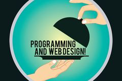 Programação e design web do texto da escrita da palavra Conceito do negócio para o desenvolvimento do Web site que projeta a anál ilustração royalty free