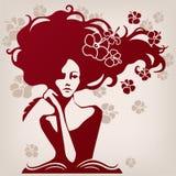 Programa de escritura de la mujer Imagen de archivo libre de regalías