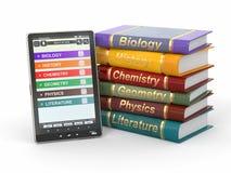 programa de lectura del E-libro. Libros de textos y PC de la tablilla. Imágenes de archivo libres de regalías