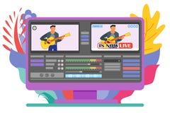 Programa de Live Stream Video Editor Computer ilustración del vector
