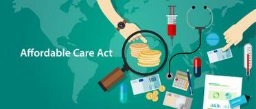 Programa de seguro médico asequible del ACA Obama del acto del cuidado ilustración del vector